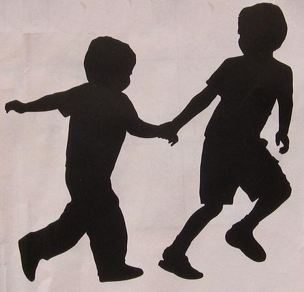 Applicatie silhouet kinderen voor patchwork of quiltwerk