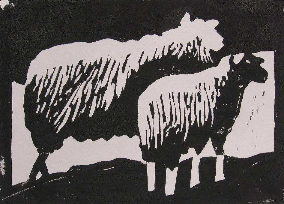 linosnede schapen afdruk 2