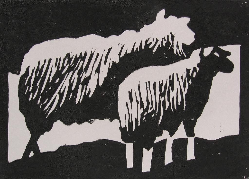 linosnede schapen afdruk linoleum snijden gutsen