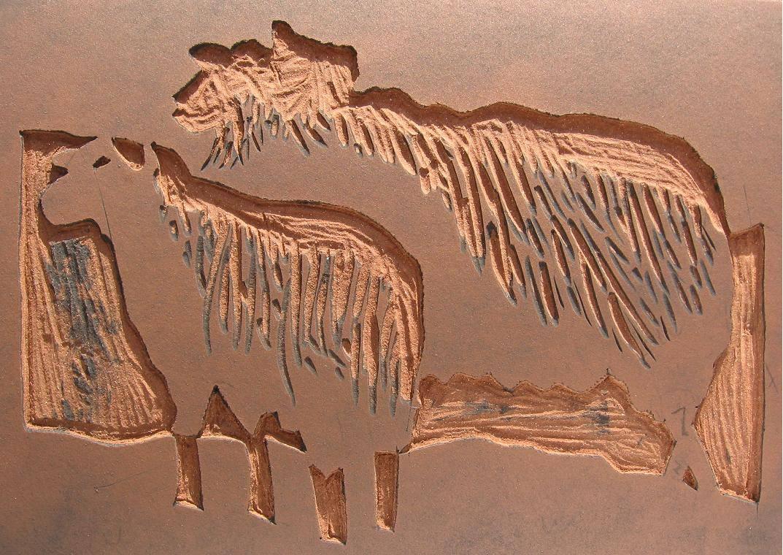 linosnede schapen snijden linoleum
