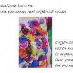 Kussen versieren met organza rozen