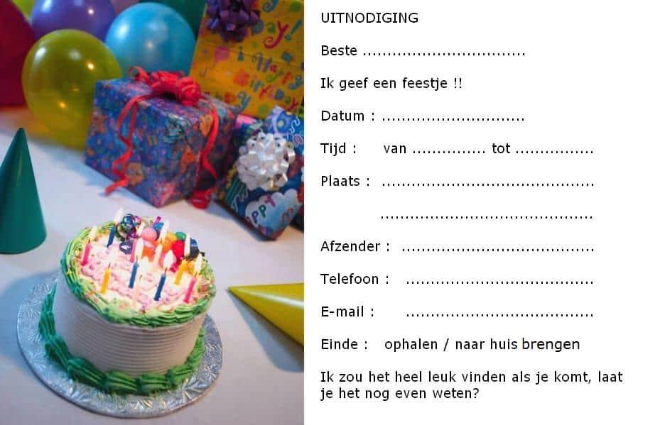 uitnodiging kinderfeestje voorbeeld