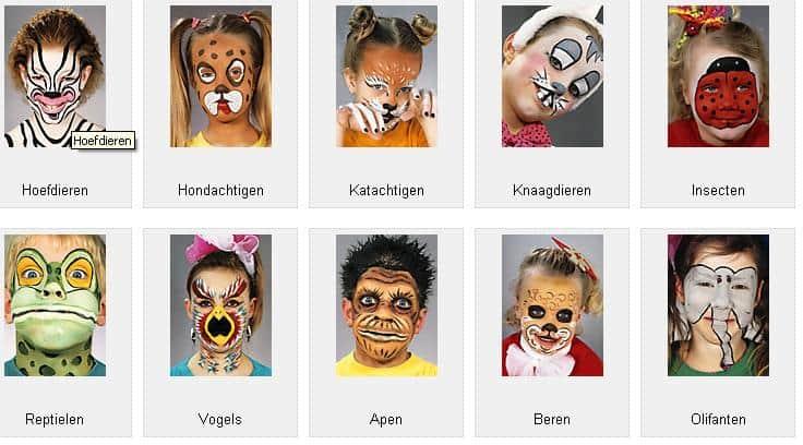Voorbeelden schminken kinderen