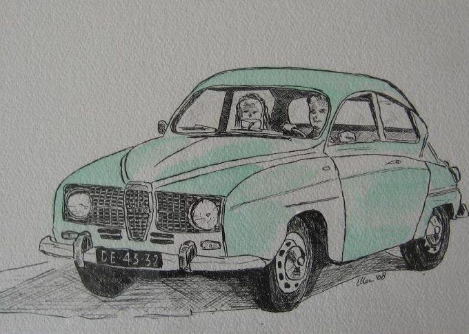 Schets en aquarel van Saab uit 1965