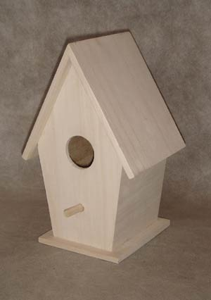 blank houten vogelhuis