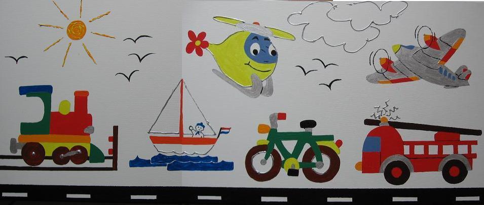schilderij kinderkamer zelf maken voertuigen