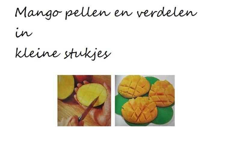 Hoe mango schillen in kleine stukjes