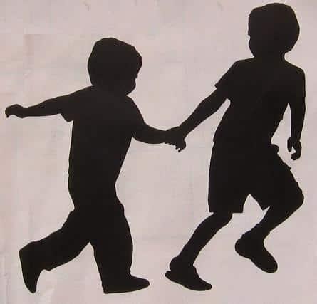 silhouet spelende kinderen applicatie sjabloon