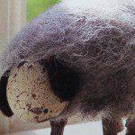 Schaap maken van leeg ei, wol en takjes