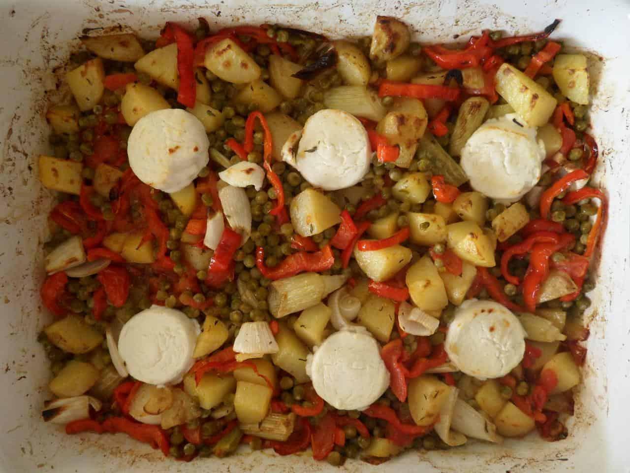 Snelle ovenschotel met geitenkaas recept