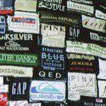 Patchwork kussen maken van labels uit kleding