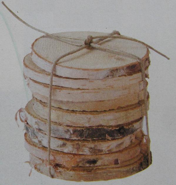 Onderzetter maken van plakje berkenstam