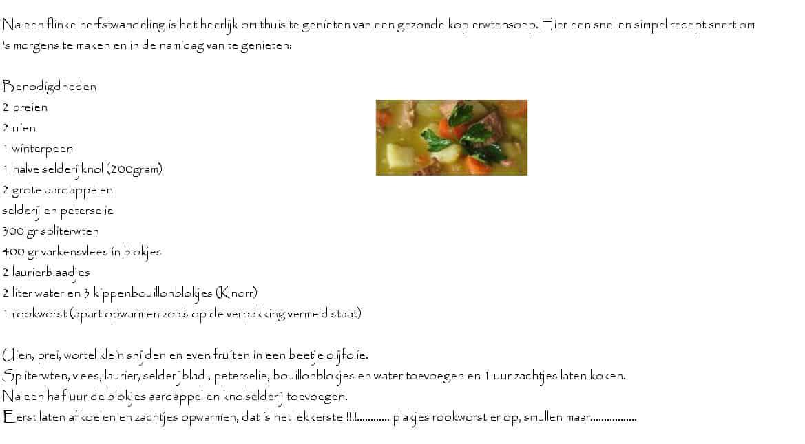 herfstwandeling en snertweer recept erwtensoep 1