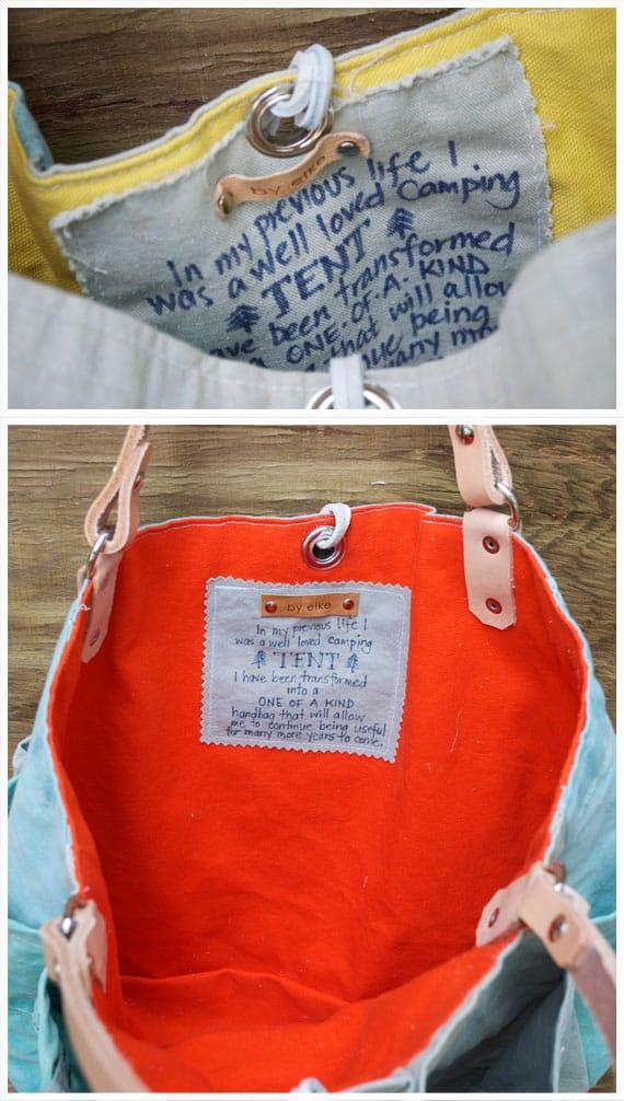 Hoe uit oude katoenen tent een tas maken