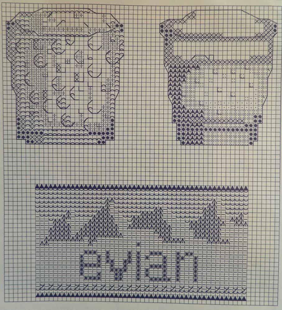 glazen water en Evian etiket borduur patroon 001