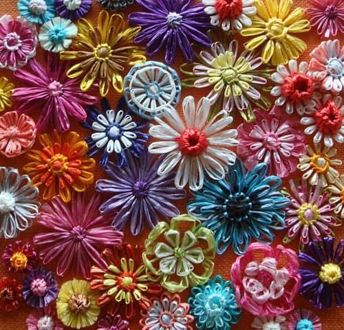 Draadbloemen maken met garen, lintgaren of raffia