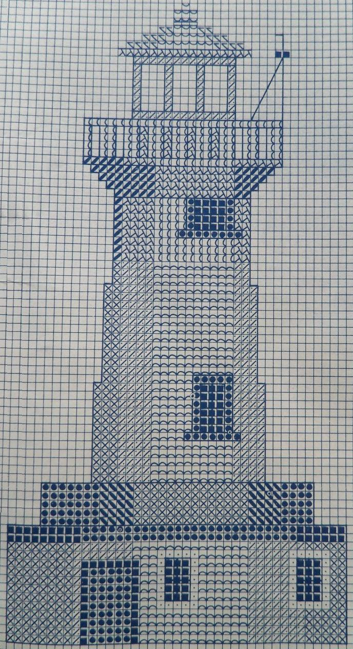 DMC borduurpatroon om vuurtoren te borduren in kruissteek