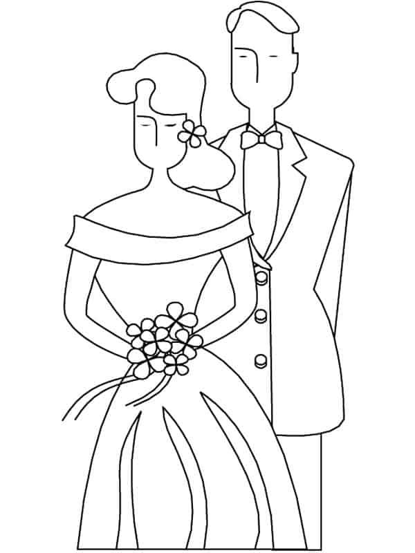 Gratis kleurplaten bruidspaar en huwelijk / BRON: gifgratis.net