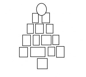 kerstkaarten op de muur plakken in kerstboom vorm