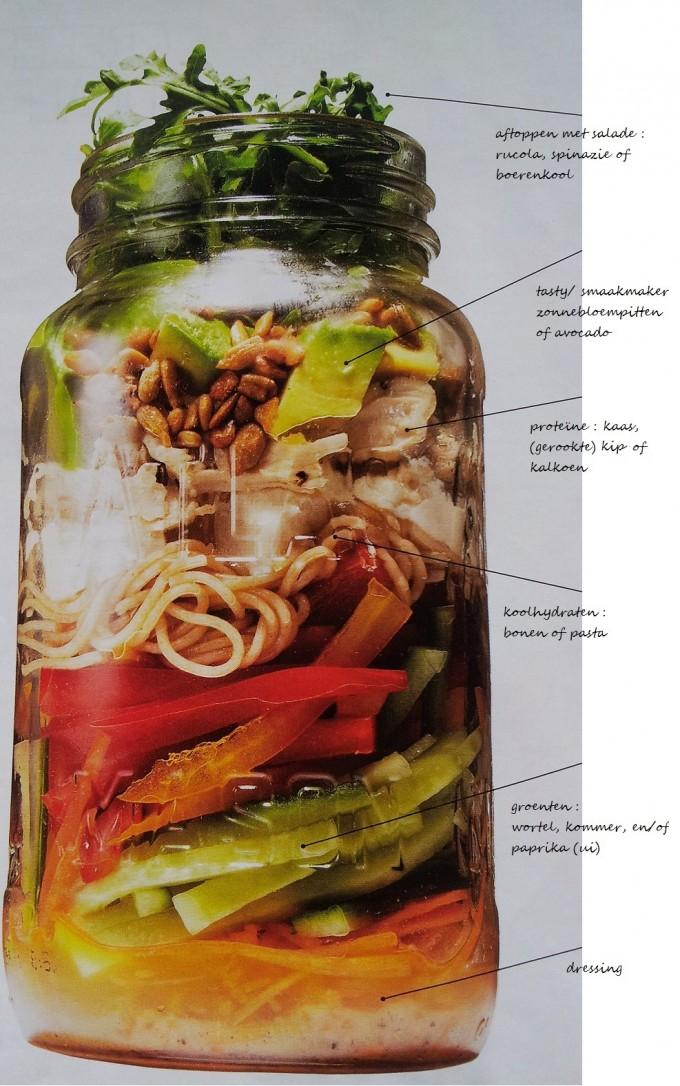 salade in een glazen pot om mee te nemen