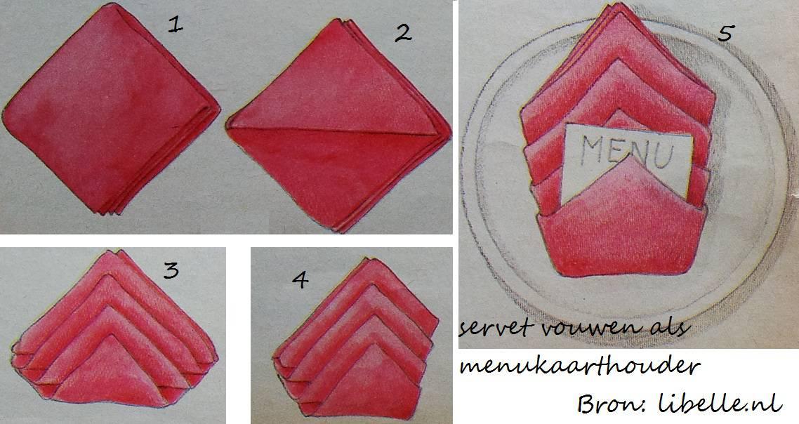 Envelop vouwen met servet en menukaarthouder