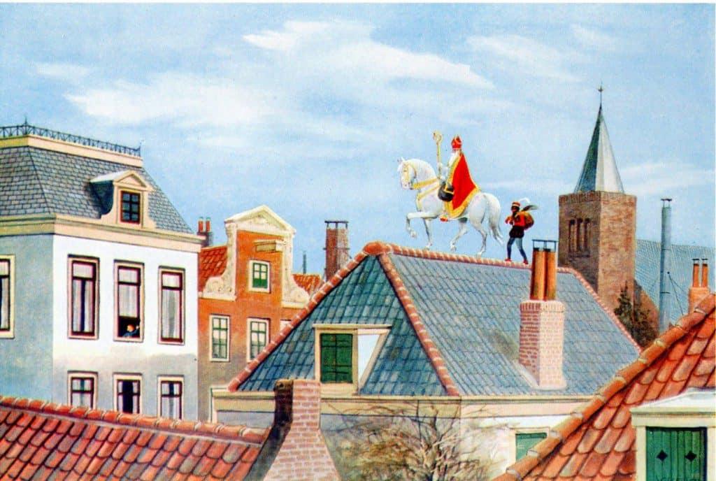 sinterklaas en paard op het dak