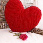 Groot hart kussen haken met haakpatroon