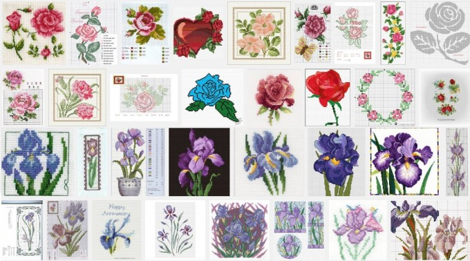 borduurpatroon roos en iris