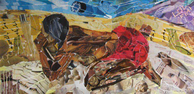 Eenzaamheid van Paul Gaugain / collage op doek 2005 / Ellen Figee