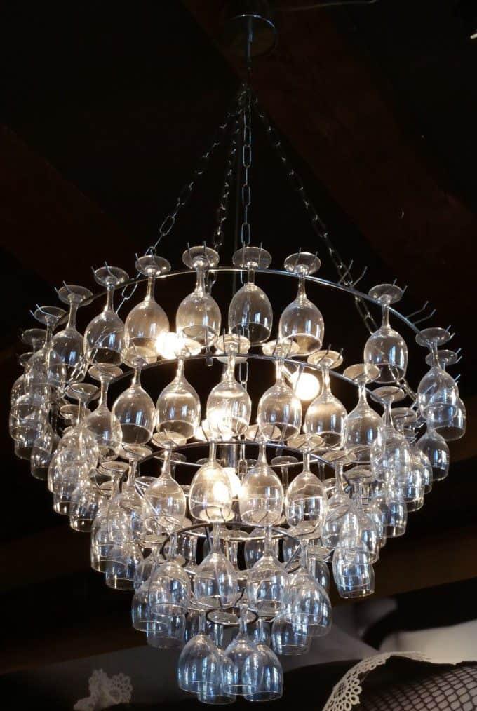 hanglamp maken met wijnglazen 1