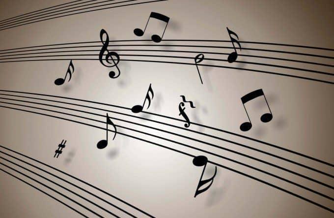 muzieknoten op de muur tekenen. Bron: 7-themes.com