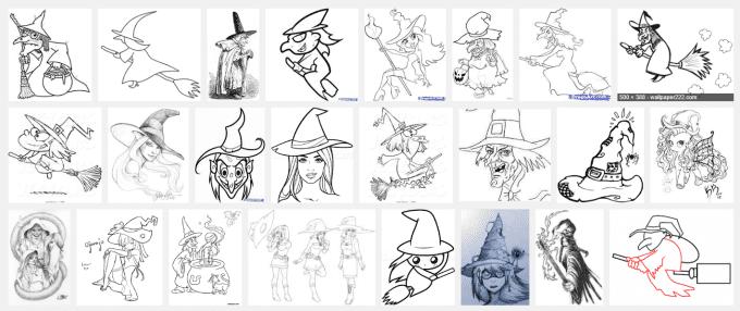 halloween heksen tekenen. Bron: google.nl
