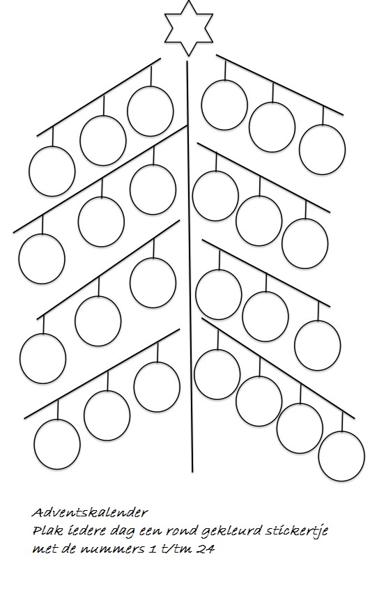 Advent kerstboomkaart