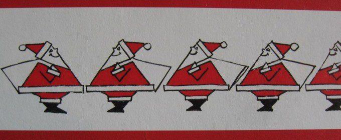 Kerstmannen van papier en verf