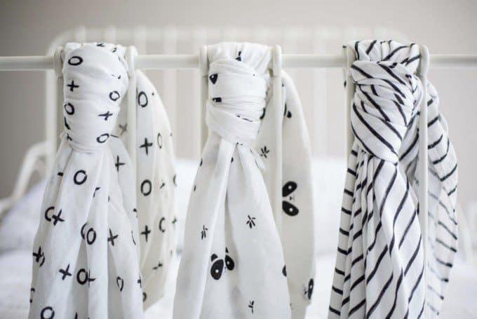 zachte babydoeken zwart wit