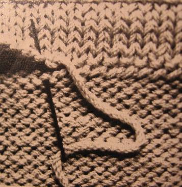 met flanelsteek boord aan trui mazen