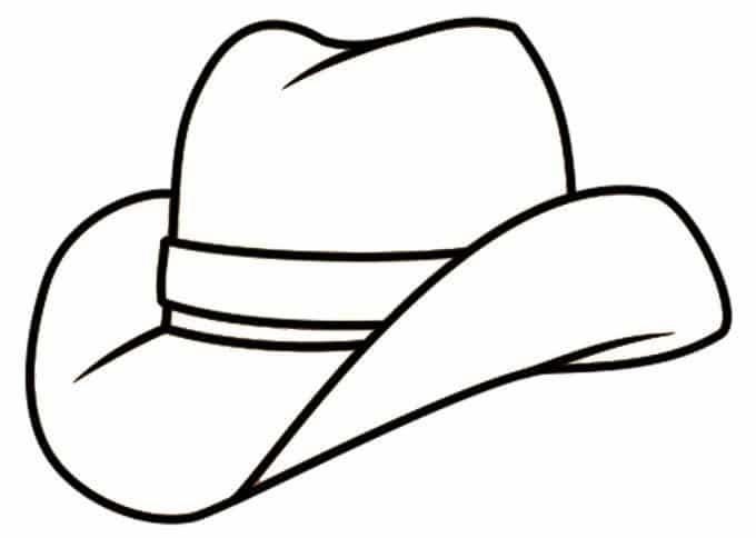 Kleurplaat cowboyhoed. Bron: freecoloringpages.co.uk