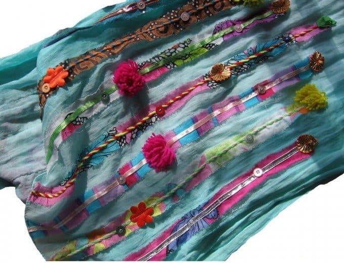 oude effen saaie sjaal versieren