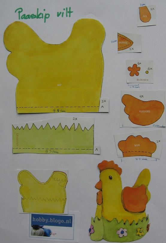 Eierwarmer kip maken van vilt