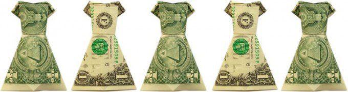 geld vouwen jurk