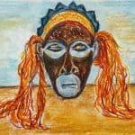 Masker tekenen en kleuren met krijt