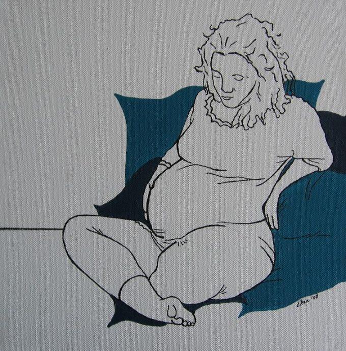 Start bevalling tweeling in tekening