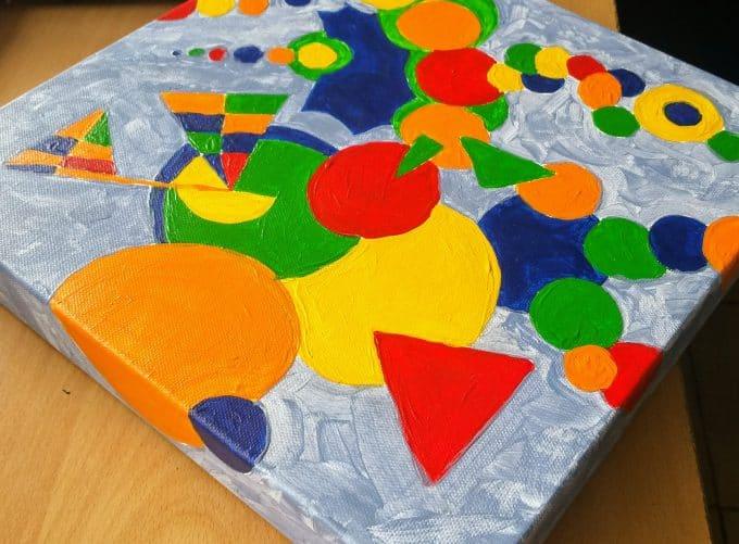 Cirkels tekenen en kleuren in acrylverf