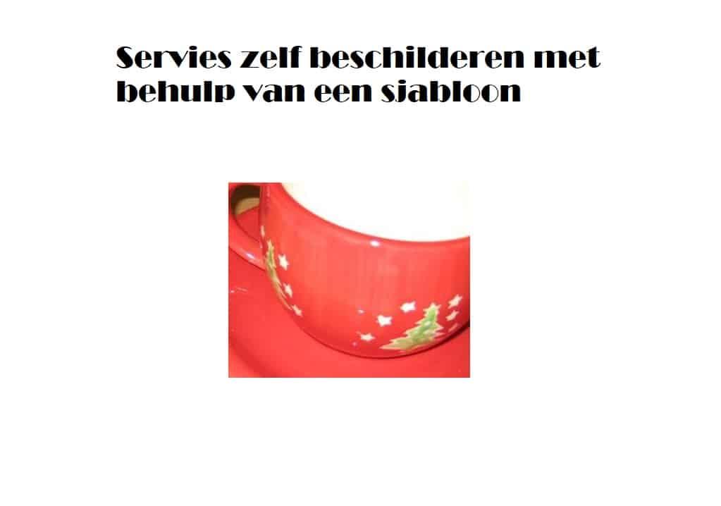 Servies beschilderen met sjabloon