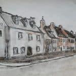 Perspectief tekenen huizen in straat